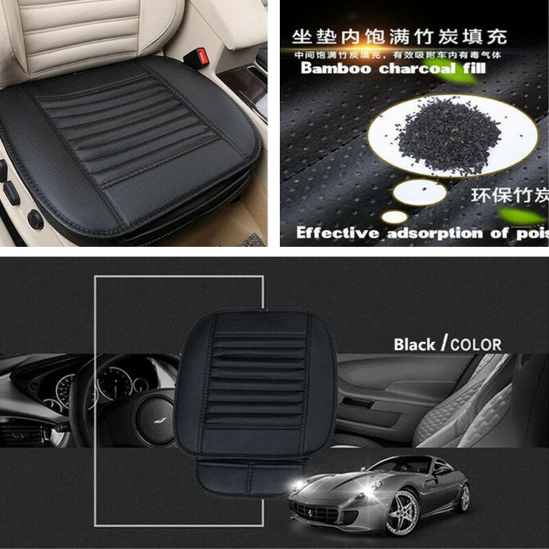 Car Breathable PU Leather Bamboo Charcoal Seats Chair Cover Soft Cushion Black