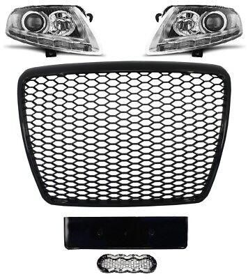 Ecke Vorne Schwarz Leder (Für Audi A6 4F 04-12 RS6 -Look Wabengrill + Led Xenon Scheinwerfer Stoßstangen 4)