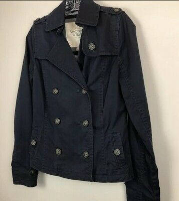 Abercrombie & Fitch Womens Sz S Jacket Double Breasted Navy Blue Pea Coat Crop