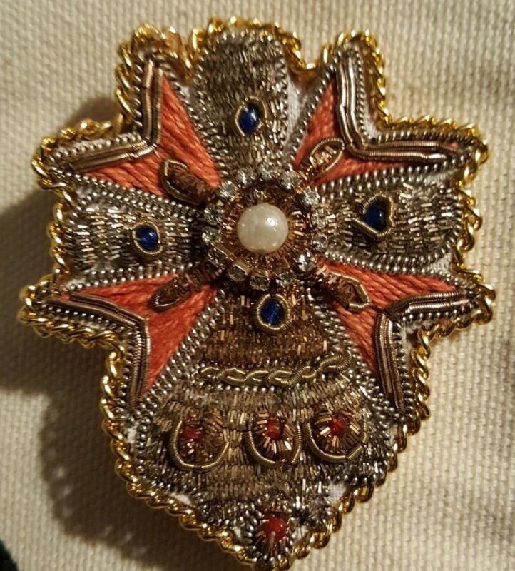 Vintage Trovelore Hand Beaded leather Backed Embellished Pin Brooch India
