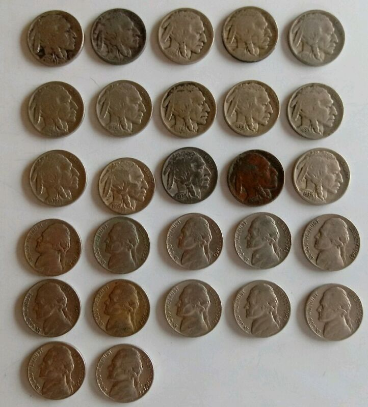 Buffalo & Jefferson Nickel Collection 27 Different US Coins Lot 1920-1969 w tube