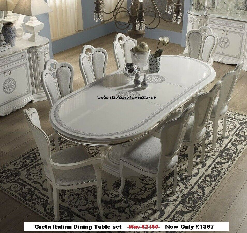 Rossella Italian Dining Table and 6 Chairs in High Gloss with Gold ...