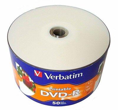 100 VERBATIM 16X Blank DVD-R DVDR 4.7GB White Inkjet Printable Media Disc 97167