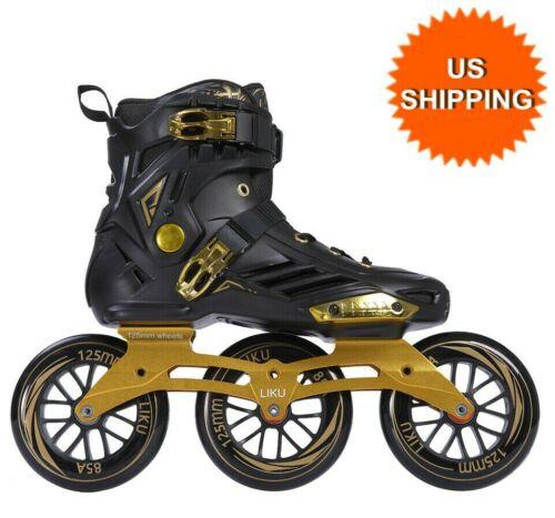 LIKU Performance 125 3WD Speed Inline Skates Black&Gold Racing Skate Unisex