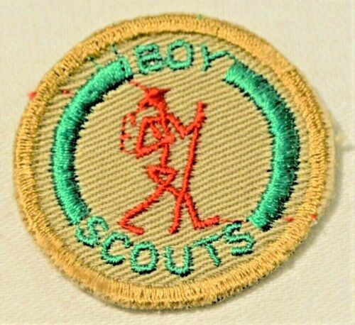 New Red Stick Man Boy Scout Hiker Proficiency Award Badge Tan Cloth Troop Small