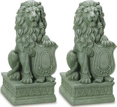 - 2 set LION Regal entryway step stair outdoor garden guardian statue sculpture