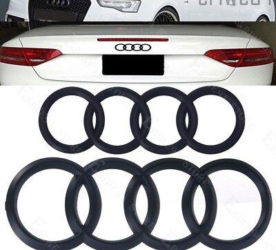 06-12 Audi Ring Black GLOSS Front Rear A3 A4 S4 A5 S5 A6 S6 SQ7 TT Badge Emblem