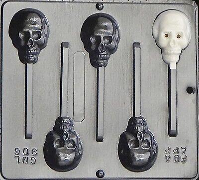 Skull Lollipop Chocolate Candy Mold Halloween  906 NEW - Chocolate Halloween Lollipops