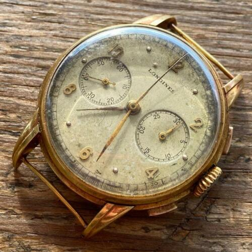 VINTAGE LONGINES 13ZN CHRONOGRAPH FLYBACK 18KT YELLOW GOLD WATCH 100% GENUINE - watch picture 1