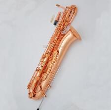 Professional Rose Gold Plating Baritone Saxophone Bari Support Eb Sax New Case