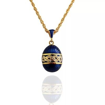 Handgefertigt Blau Russisch Easter Hanf Blumen Faberge Ei Anhänger Halskette gebraucht kaufen  Versand nach Germany