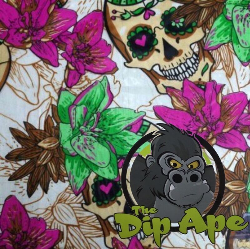 LARGE SUGAR SKULLS HYDROGRAPHIC WATER TRANSFER HYDRO FILM DIP APE