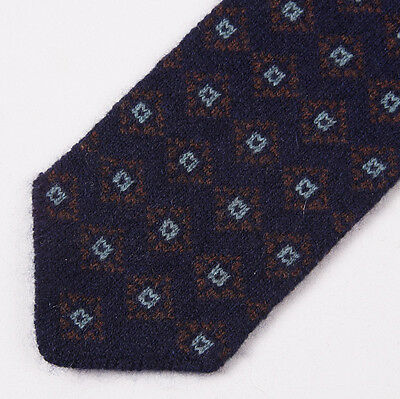 NWT $235 LUCIANO BARBERA Navy-Brown-Sky Medallion Print 100% Cashmere Tie