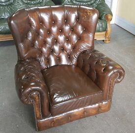 Brown Leather Chesterfield Wingback Armchair.WE DELIVER