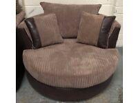 DFS Findlay brown cord fabric swivel chair