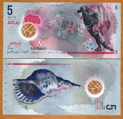 Maldives, 5 Rufiyaa, 2017, Polymer UNC > New Design, Football, Seashell