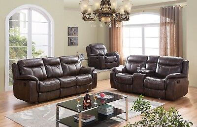 Braylon Classic Brown Reclining Sofa & Loveseat in Premium Leather Air Fabric Premium Brown Leather Sofa