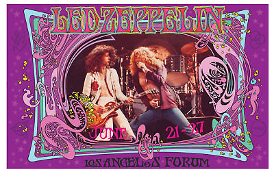 Led Zeppelin At Los Angeles Forum Bob Masse 23 5 X 15 Inch Rock Concert Poster