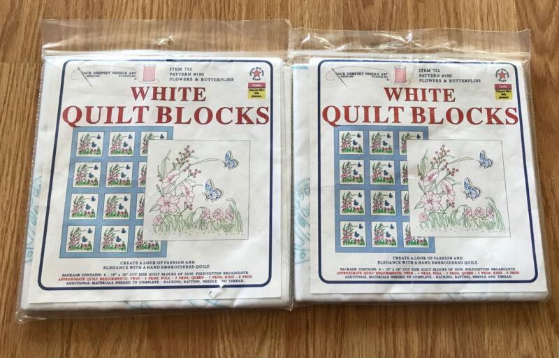 "2 Pkg Jack Dempsey Stamped White Quilt Blocks 18""X18"" Flowers & Butterflies #190"