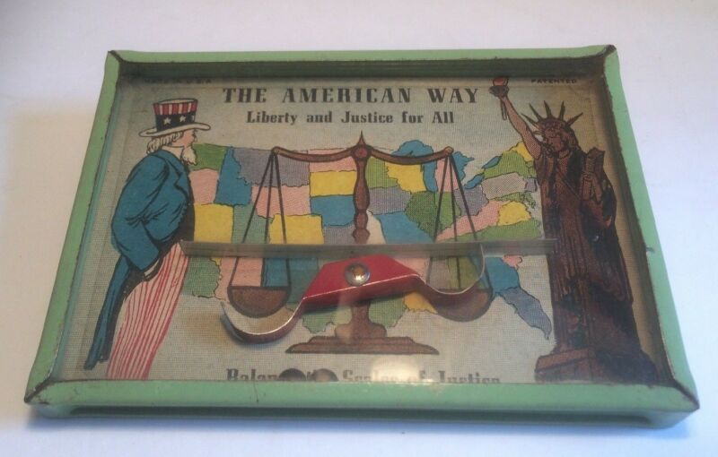 "Vintage Dexterity puzzle ""The American Way"" Scales of Justice"