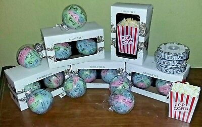 NEW Movie Theater Film Themed Ornaments Christmas Tickets Popcorn Ribbon Garland