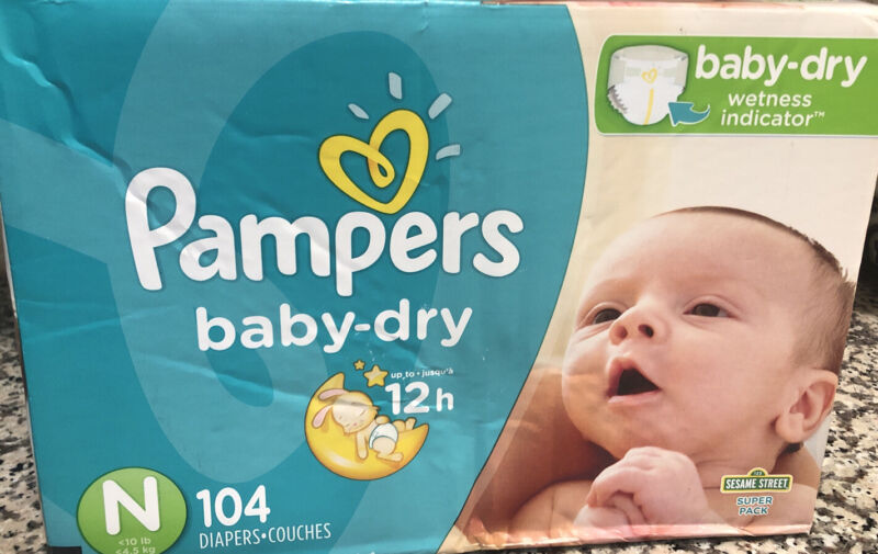 New Box Pampers Baby Dry Disposable Diapers Newborn 104 Count Sesame Street
