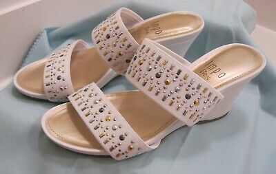 IMPO Women's Vanecia Slip On Sandal Wedge Heels White Size US 6M