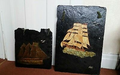 old set original oil paintings on slate signed