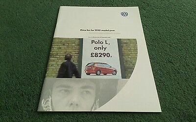 September 1998 1999 VW GOLF POLO PASSAT SHARAN inc GTi UK PRICE LIST BROCHURE