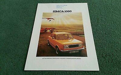 August 1977 1978 SIMCA 1000 UK FOLDER BROCHURE Golf Links Garage Doncaster Stamp