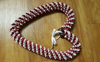 Grad Wedding Hawaiian White and Red Rosebud Ribbon Lei