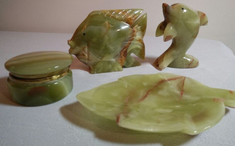 Lot of 4 Hand Carved Green Onyx Dolphin Fish Figurines Box Tray Leaf