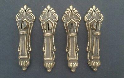 4 Antique Style Vertical Brass Ornate Pendant Drop Pull Handles 3 1/4