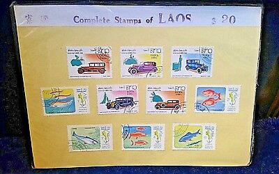 Vintage Postage Stamps Complete stamps of LAOS ~ 10 Stamps Autos and Fish