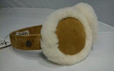 NEW Ugg Earmuffs TAN BEIGE Cute Over Ear Warmers Winter Shearling Leather $80