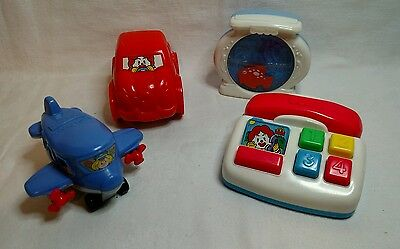 Lot of 4 McDonalds Fisher Price Toddler Toys 1999 Car Phone Airplane Fish Tank