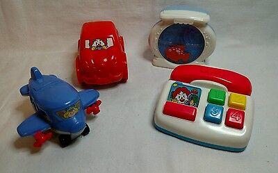 Lot of 4 McDonalds Fisher Price Toddler Toys 1999 Car Phone Airplane Fish Tank