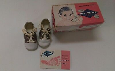 WEE WALKER Baby Shoes CRIB SHOE brown/white saddle 1961 Size 2