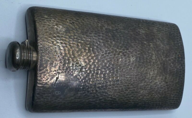 Antique Hammered Silver Plate Flask Meriden B Co 1898