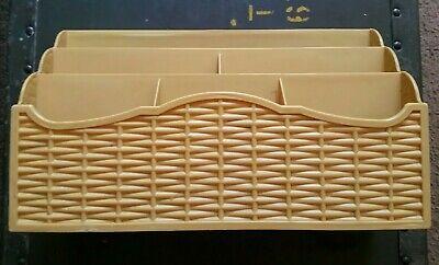 Vintage Action Ind. Usa Mustard Yellow Desk School Work Craft Mail Organizer Mcm