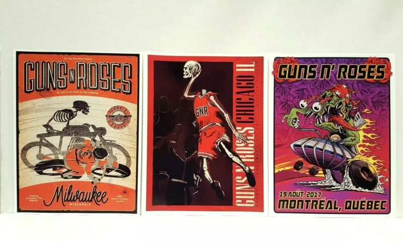 Guns N Roses Lithograph Chicago Michael Jordan Milwaukee Montreal Reprint and