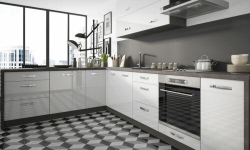 L-Form Küchenzeile ESSEN Einbauküche 210x300cm lava - weiß Hochglanz 66363196