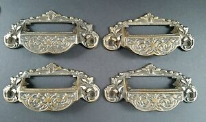 4 Victorian Antique Style Apothecary Bin Pull Handles w.label holder 4 3/4