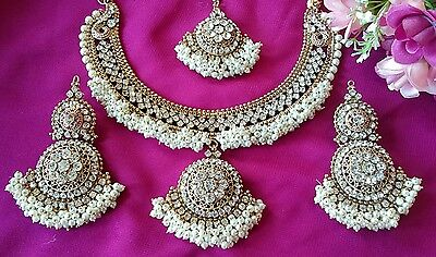 Indian Pakistani Bollywood gold pearl Bridal Jewellery necklace Earrings set UK