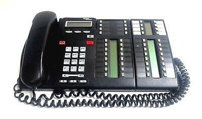Nortel Norstar T7316E Charcoal LCD Business Phone With T24 Key Indicator Module