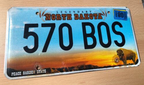 US Nummernschild Kennzeichen USA North Dakota Licence Plate 570 BOS