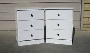 REFURBISHED 2 X 3 DRAWER BEDSIDE TABLES HIGH GLOSS WHITE