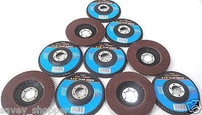 Lot Of 10 4 12 Inch X 78 Sanding Flap 80 Grit Wheel Disc Aluminum Oxide
