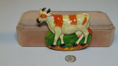 "PLASTIC COW FIGURE FRIDGE MAGNET WHITE AND BROWN 4 1/2"" X 3 3/4"""