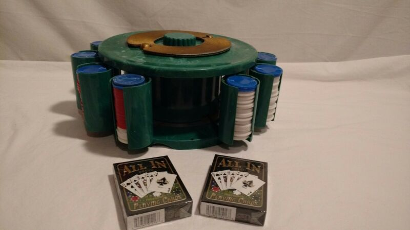 Vintage Poker Chip Caddy Turnit Mfg. Co Bakelite Marble Green, W/Cards & Chips